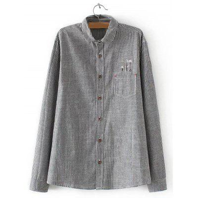 Buy GRAY Embroidered Striped Buttoned Shirt for $22.82 in GearBest store