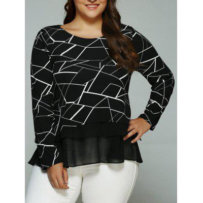 Buy BLACK Plus Size Geometric Print Splicing Blouse for $19.97 in GearBest store