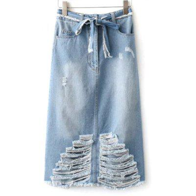 Frayed Jean Skirt
