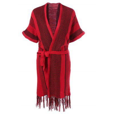 Striped Fringed Knit Wrap Dress