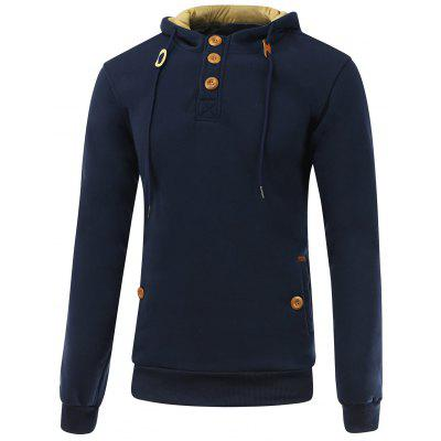 Buy DEEP BLUE L Elbow Patch Long Sleeve Drawstring Pullover Hoodie for $16.64 in GearBest store