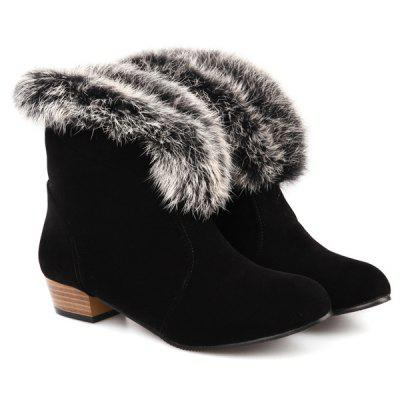 Buy BLACK Low Heel Faux Fur Suede Ankle Boots for $43.82 in GearBest store