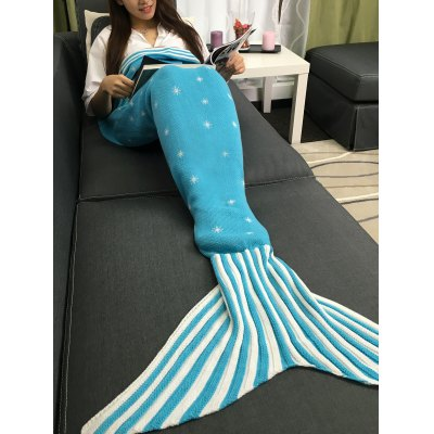 Moon and Santa Claus Pattern Knitting Mermaid Tail Blanket