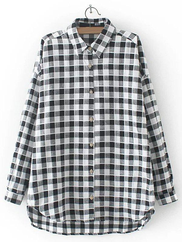 BLACK Asymmetric Buttoned Plaid Shirt