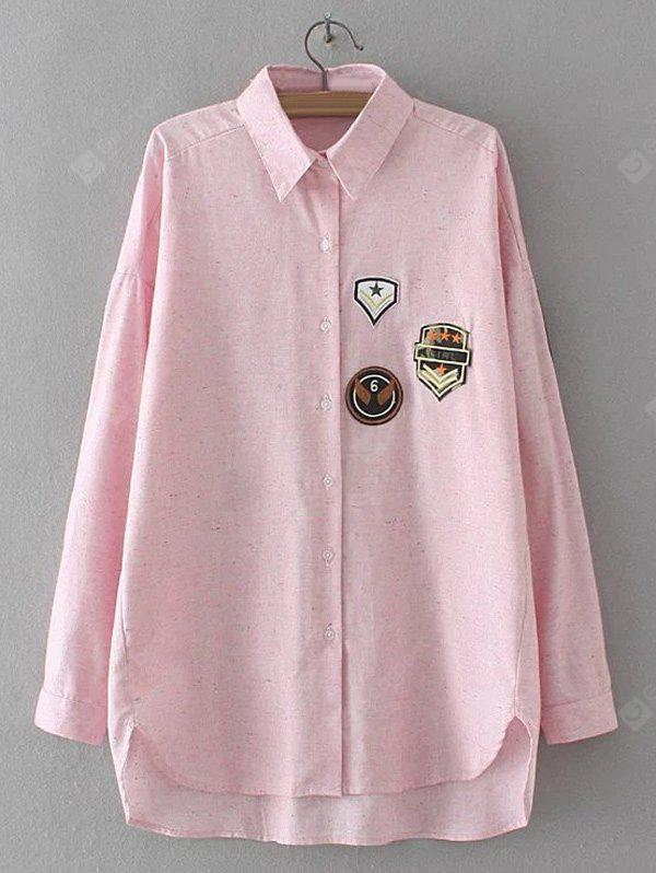 SHALLOW PINK Applique Embroidered Asymmetric Shirt