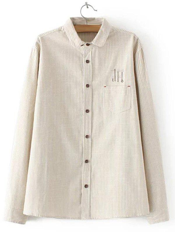 KHAKI Embroidered Striped Buttoned Shirt