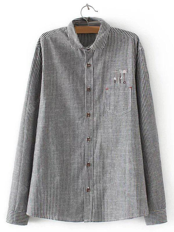 GRAY Embroidered Striped Buttoned Shirt