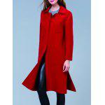 cheap Double Pocket Long Wool Blend Coat