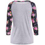 cheap 3D Floral Raglan Sleeve T-Shirt