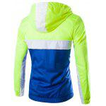 Color Block Splicing Hooded Zip-Up Polyester Jacket - NEON GREEN