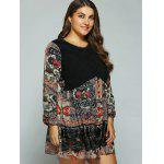 Plus Size Printed Splicing Mini Dress deal