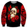Rose Skull 3D Print Long Sleeve Crew Neck Sweatshirt - RED + BLACK