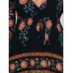 Long Sleeve Deep V A Line Floral Dress - BLACK
