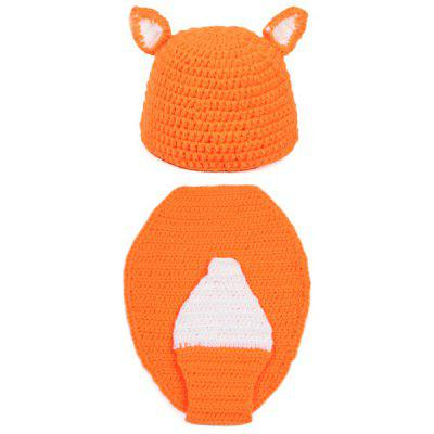 Cartoon Fox Shape Knitted Blanket Photography