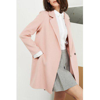 Seam Pocket Lapel Wool Blend Coat