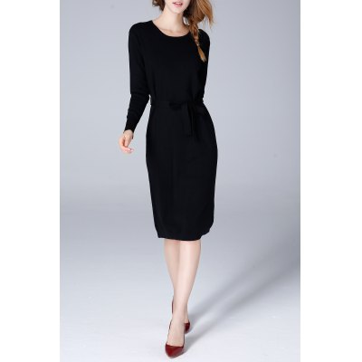 Slit Belted Long Sleeve Knitted Dress