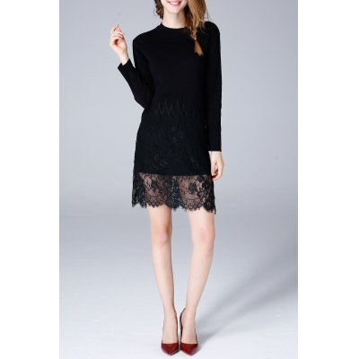 Lace Hem Long Sleeve Knit Dress