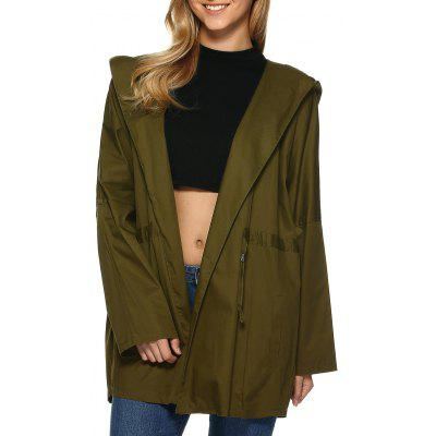 Hooded Drop Shoulder Loose Trench Coat