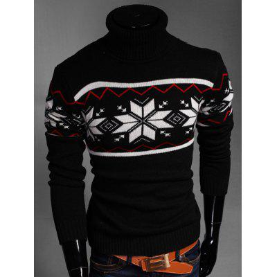 Zigzag Geometric Pattern Turtleneck Long Sleeve Sweater