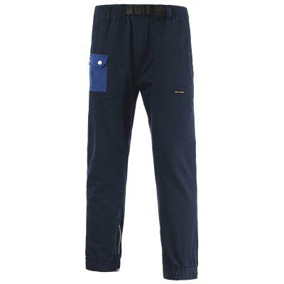 Plastic Buckle Design Elastic Waist Pocket Jogger Pants