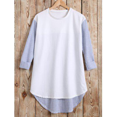 Long Sleeves High Low Patchwork T-Shirt
