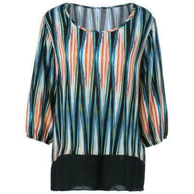Plus Size Asymmetrical Striped Blouse