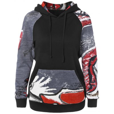 Graffiti Pattern Front Pocket Hoodie