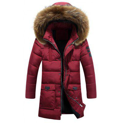Buy CLARET Applique Quilted Coat with Fur Hood for $53.90 in GearBest store