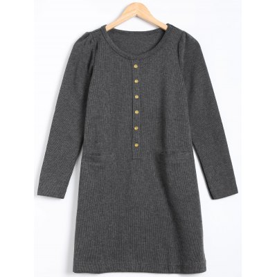 Long Sleeve Buttoned Sweater Dress