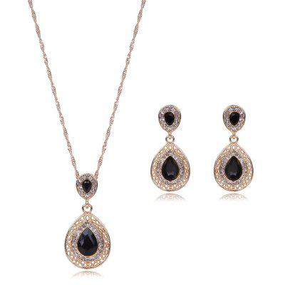 Faux Gem Rhinestone Teardrop Jewelry Set
