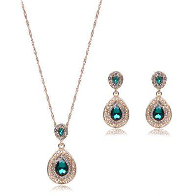 Faux Gem Hollowed Teardrop Jewelry Set