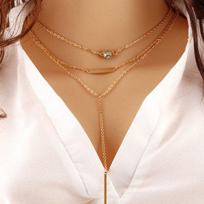 Rhinestone Geometric Bar Pendant Layered Necklace