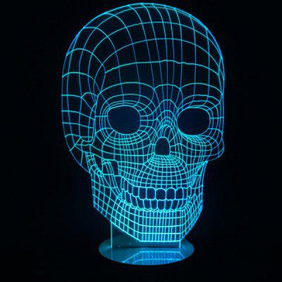 Remote Control 7 Color Change Skull Shape 3D LED Night Light