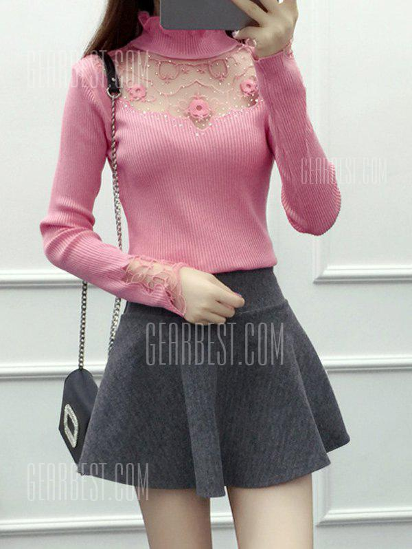 PINK Beading Embroidered Turtleneck Sweater