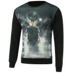 3D Model Print Round Neck Long Sleeve Sweatshirt - PRETO
