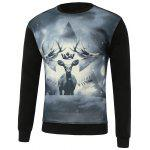 3D Deer Print Round Neck Long Sleeve Sweatshirt - BLACK