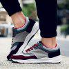 Suede Color Block Tie Up Athletic Shoes - WINE RED