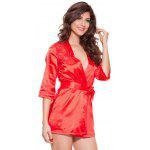 cheap Lace Spliced Wrap Cut Out Sleepwear