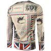 3D England Stamp Print Crew Neck Long Sleeve T-Shirt - COLORMIX