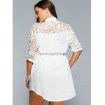 Lace Spliced V-Neck 3/4 Sleeve Plus Size Self-Tie Blouse - WHITE