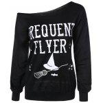 Frequency Flyer Letter Sweatshirt with Skew Neck - BLACK