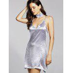 Stylish Cami Pure Color Satin Women's Dress - SILVER
