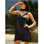 Stylish Cami Pure Color Satin Women's Dress - BLACK