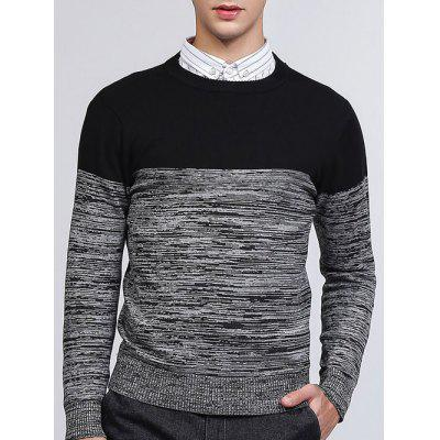 Buy BLACK XL Crew Neck Color Block Splicing Knit Blends Sweater for $15.78 in GearBest store