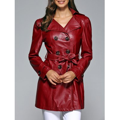 Self-Tie Button Up Faux Leather Coat