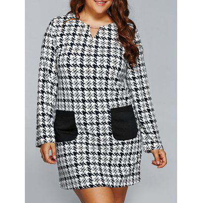 Buy WHITE AND BLACK Houndstooth Long Sleeve Shift Tunic Dress for $9.75 in GearBest store