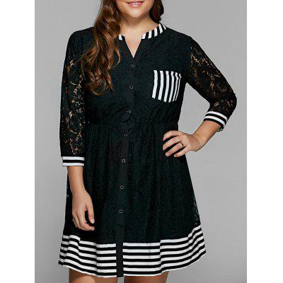 Striped Lace Trim Button Down Shirt Dress