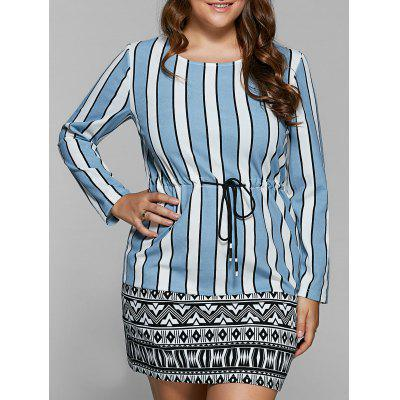 Drawstring Striped Tribal Print Shift Dress