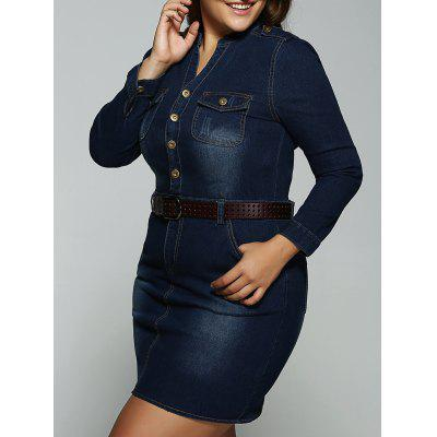Plus Size Belted Fitted Jeans Long Sleeve Shirt Dress