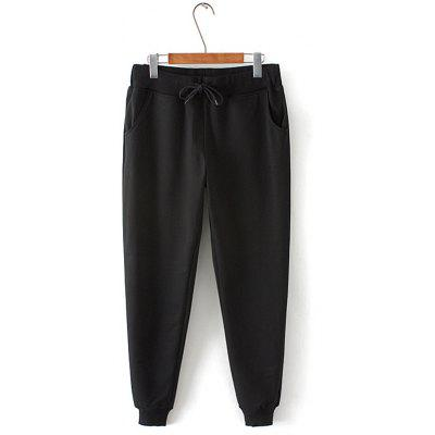 Buy BLACK Plus Size Drawstring Harem Jogger Pants for $25.57 in GearBest store